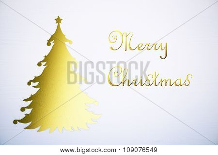Merry Christmas Concept With Yellow Christmass Tree At White Background