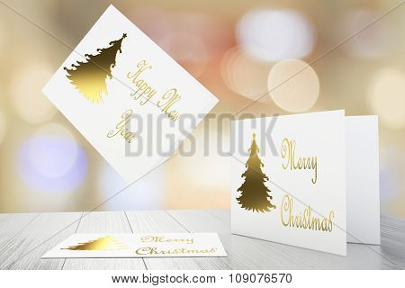 Merry Christmas Postcard Concept With Golden Christmass Tree
