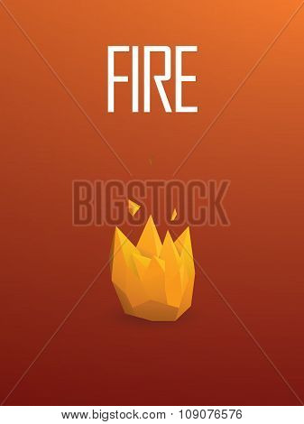 Fire element symbol in modern low poly design. 3d polygonal orange flames vector sign.