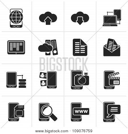 Black Connection, communication and mobile phone icons