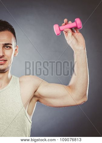Funny Sporty Fit Man Lifting Light Dumbbell. Fun.