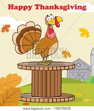 Happy Thanksgiving Greeting With Turkey Bird