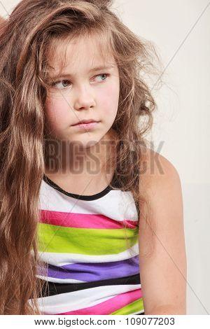 Sad Unhappy Little Girl Kid Portrait.