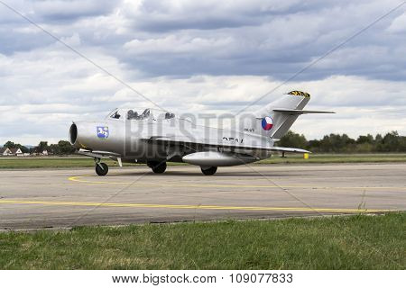 Hradec Kralove, Czech Republic - September 5: Jet Fighter Aircraft Mikoyan-gurevich Mig-15 Developed