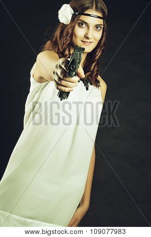 Old-fashioned Girl With Gun