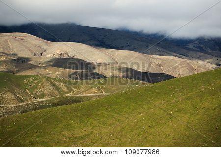 Beautiful Landscape Mountain Slope Farm Field In New Zealand