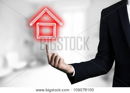 beautiful Business male arm indicating house glow icon