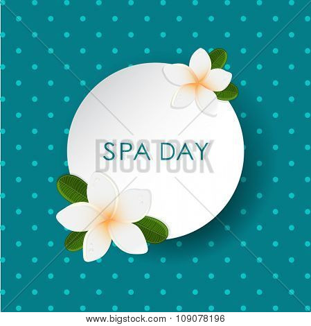 Vector white frangipani (plumeria) flower on polka dot background. Spa banner