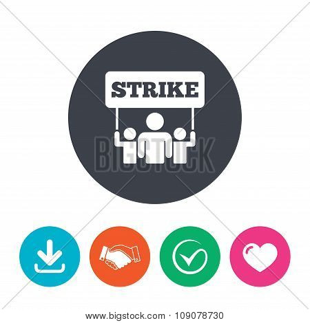 Strike sign icon. Group of people symbol.