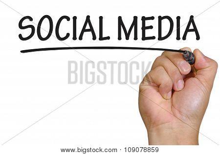 Hand Writing Social Media Over Plain White Background