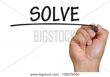 Hand Writing Solve Over Plain White Background