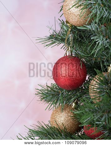 Christmas Baubles On A Tree