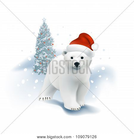 Polar bear cub with Santa hat and Christmas tree.