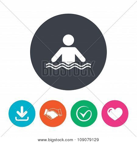 Swimming sign icon. Pool swim symbol.