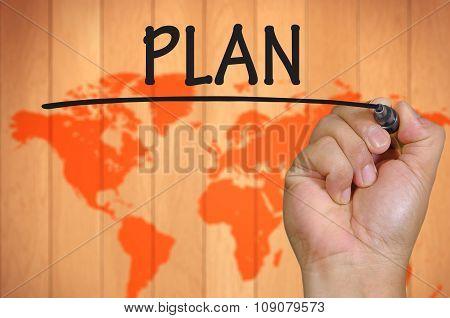 Hand Writing Plan  Over Blur World Background
