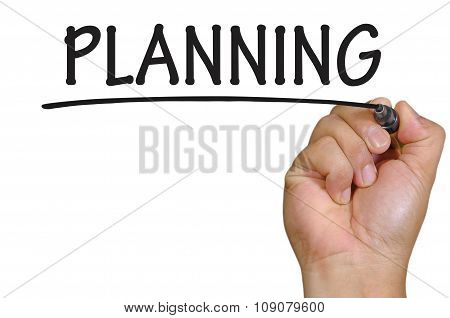 Hand Writing Planning Over Plain White Background