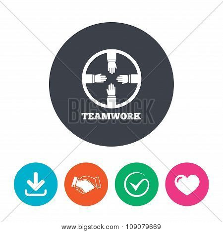 Teamwork sign icon. Helping Hands.