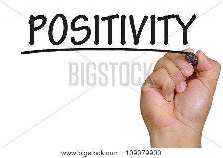 Hand Writing Positivity Over Plain White Background