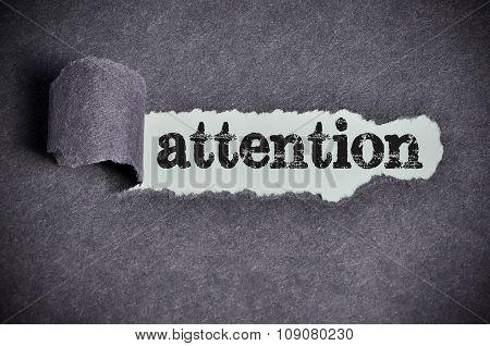 Attention Word Under Torn Black Sugar Paper