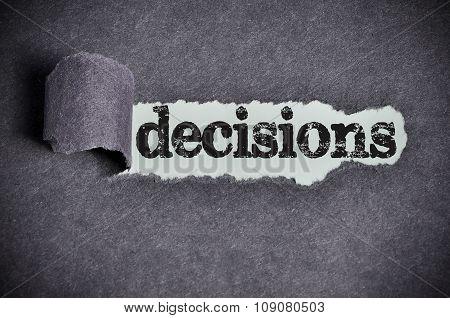Decisions  Word Under Torn Black Sugar Paper