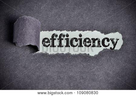 Efficiency Word Under Torn Black Sugar Paper