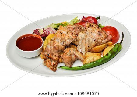 Chicken meat fries