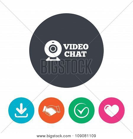 Video chat sign icon. Webcam video talk.