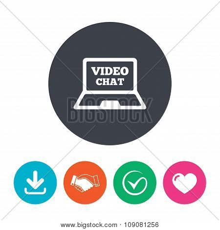 Video chat laptop sign icon. Web communication.