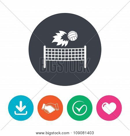 Volleyball net fireball icon. Beach sport symbol