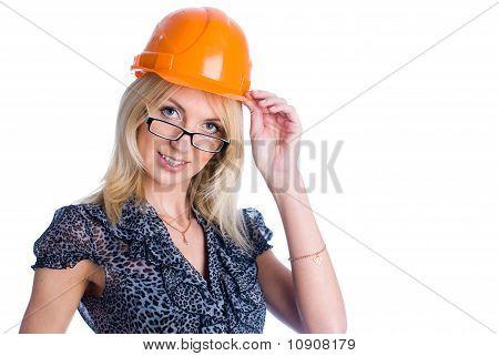Smiling girl with helmet