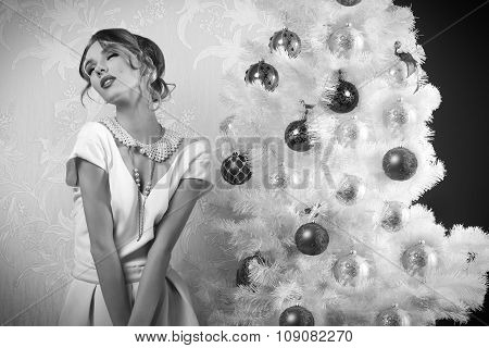 Enraptured Girl In Christmas Time Bw Image