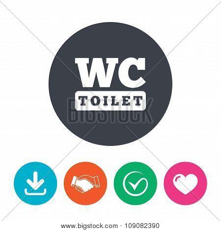 WC Toilet sign icon. Restroom symbol.