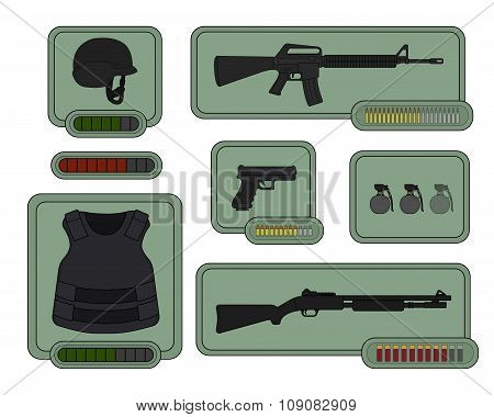 Military weapons icons. Game resources