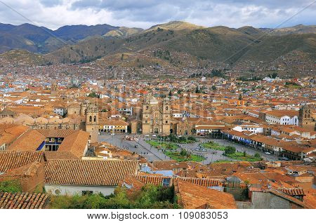 Aerial View Of Cuzco City Center.