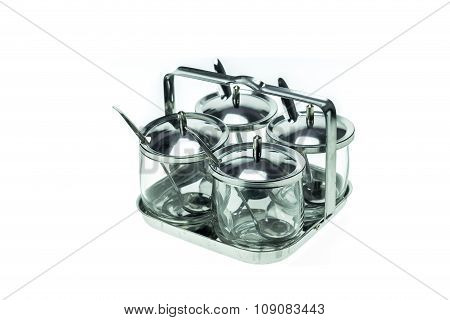 Set Of Empty Glass Container With Cover Use For Food Condiment