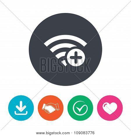 Wifi plus sign. Add Wi-fi symbol. Wireless.