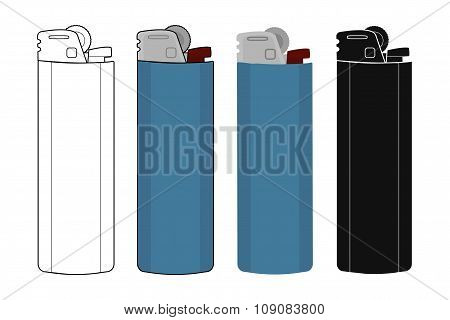 Disposable pocket gas lighters icons set