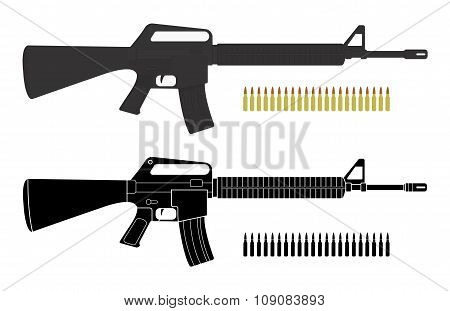 Assault rifles with bullets. Color. Silhouette