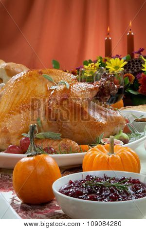 Roasted Turkey On Harvest Table