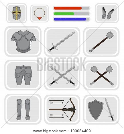 Game inventory. Warrior knight set 1