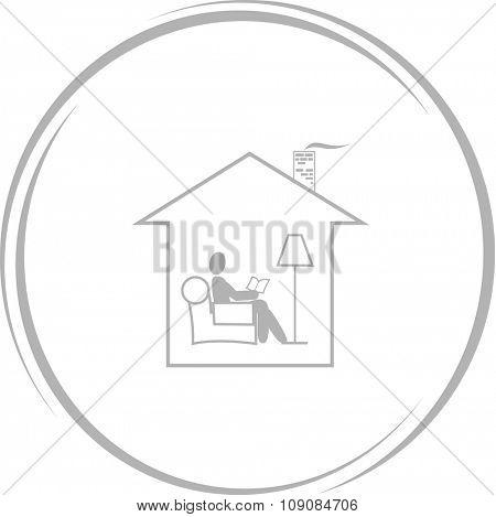 home reading. Internet button. Vector icon.