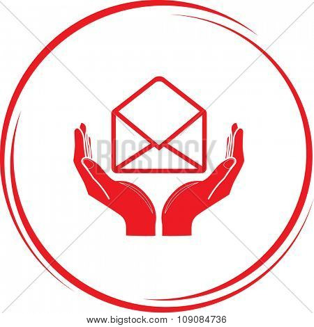 open mail with hands. Internet button. Vector icon.