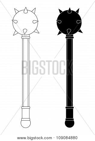 Medieval knight mace. Contour, silhouette