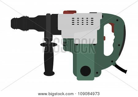 Big electric hammer drill. Vector clip art