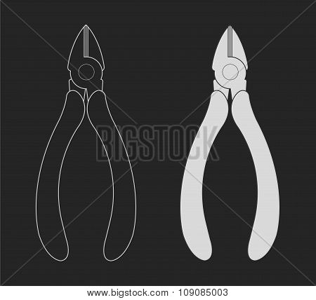 Pliers nippers. Vector clip art chalkboard illustration