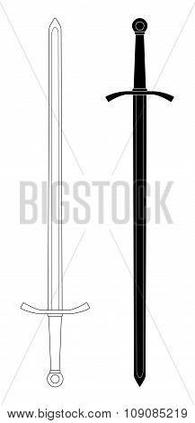 Two-handed  sword. Contour lines and silhouette