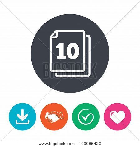 In pack 10 sheets sign icon. 10 papers symbol.