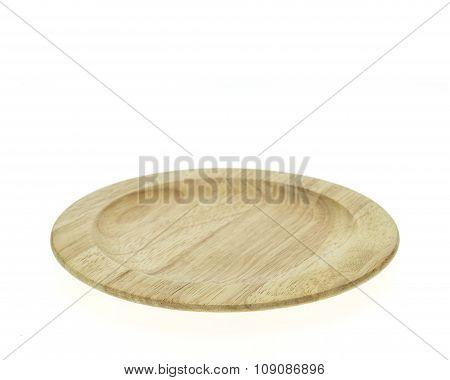 Empty Flat Wooden Dish Isolated On White Background