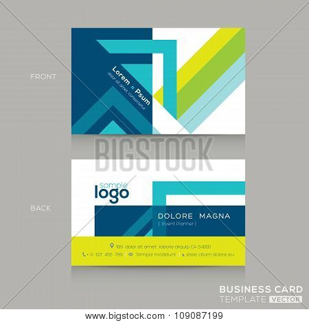 Abstract line and square shape Business Card Design Template