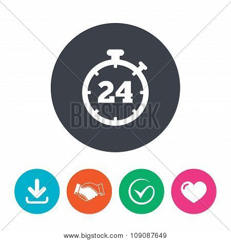 24 hours Timer sign icon. Stopwatch symbol.